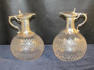 Matched Pair Antique Cut Glass & Silver Plated Claret Jugs - Pitchers