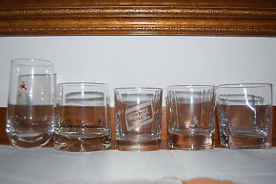 5 Unique Johnnie Walker Whisky Shot and Tall Glasses Red Label & Walking Logo