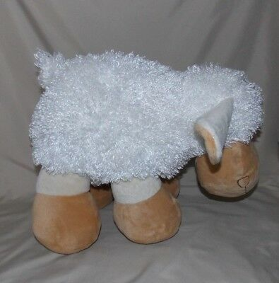 "Best Made Toys Lamb Sheep Stuffed Plush White Tan 15"" long x 13"" tall"