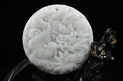 Hot sell China natural hand-carved Lantian jade dragon phoenix pendant necklace