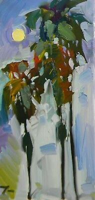 "JOSE TRUJILLO Oil Painting Impressionism 20"" Palm Trees Contemporary Artwork NR"