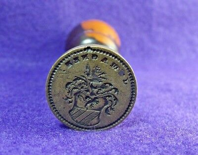 Antique 19th Century Wood & Brass Nobility Crest Lion Sealing Wax Stamp Seal