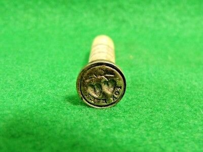 """Antique 19th Century Nickel & Bovine Bone Two Hearts """"For Ever"""" Wax Stamp Seal"""