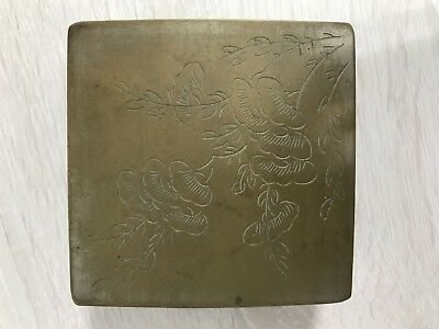 Antique Chinese Square Brass Ink Box - NR