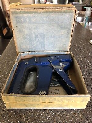 Vintage Markwell L3 Tacker Staple Gun & Original Box & Documents USA
