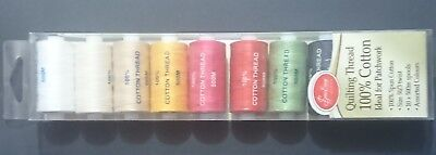 Quilting Thread 10 Colours Sew Easy 100% Cotton Bulk 500M Reels Spools Assorted
