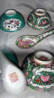 2 Antique Asian Japanese Or Chinese Hand Painted Bowls 1 Spoon Signed Lot