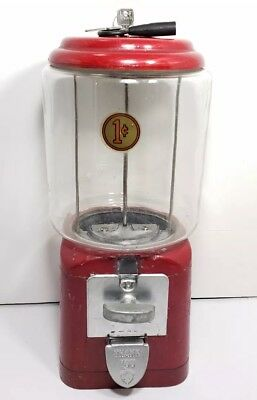 Vintage ACORN Red Gum Ball Candy Machine Dispenser With Keys 1 Cent Penny