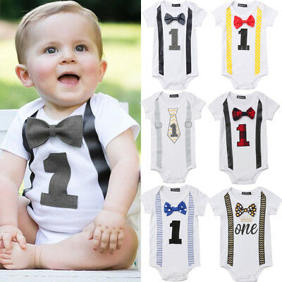 UK Baby 1st First Birthday Romper Infant Boy Gentleman Bow Bodysuit Party Outfit
