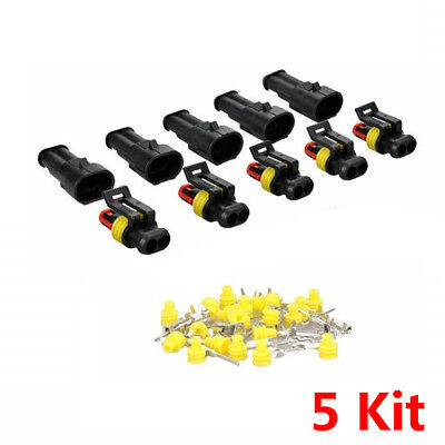 5Kit 2Pin Way Car Motorcycle Sealed Waterproof Electrical Wire Connector Plug ~