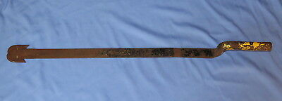 Antique steel metal shingle ripping tool for slate roofs, w/old yellow paint
