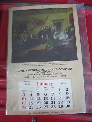 1954 Baltimore, MD Calendar, HOME FRIENDLY INSURANCE CO., Good Stored Cond.
