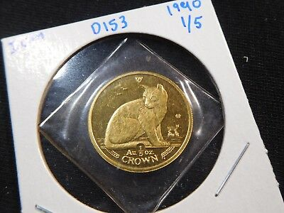 D153 Isle of Man 1990 GOLD 1/5 Oz. NY Alley Cat Crown Proof In Orig. Seal