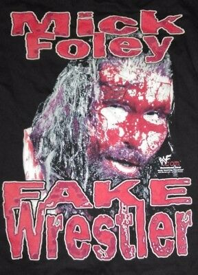 "*RARE* Vtg WWF MICK FOLEY ""FAKE WRESTLER BLOOD"" Injury List T-SHIRT M (L) WWE"