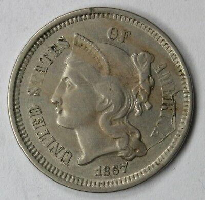 1867 3 Cent Nickel, Nice Collectible Coin, Major Die Cracks Both Sides