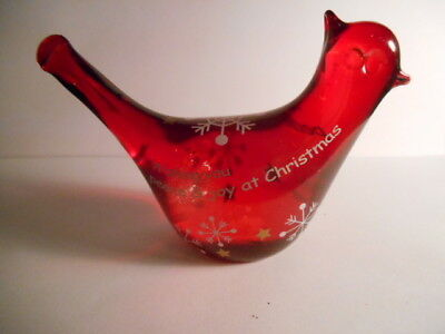 "Ganz RUBY Red Glass 4.5"" Cardinal CHRISTMAS WISHES TABLE Ornament Figurine"