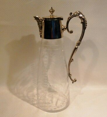 ANTIQUE MAPPIN & WEBB'S CUT GLASS WINE Carafe - PRINCE'S PLATE