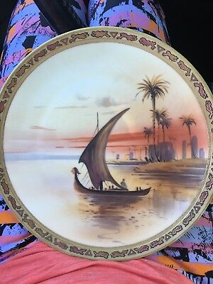Antique Hand Painted Nippon Moriage Plate 10 inch ~ Wall Plate Asian Boat Scene