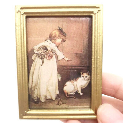 1:12 Dollhouse Miniature Furniture Room Oil Painting Girl With Cat Gold Frame ~