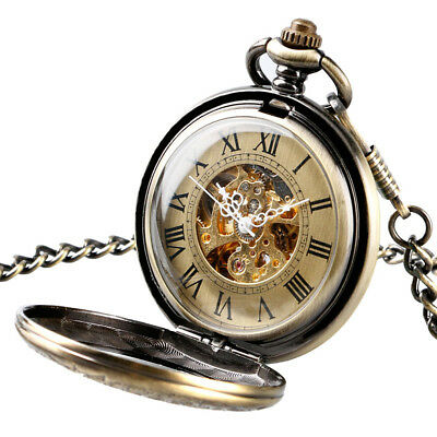 UK Classical Mechanical Pocket Watch Double Hunter Vintage Bronze Antique Style
