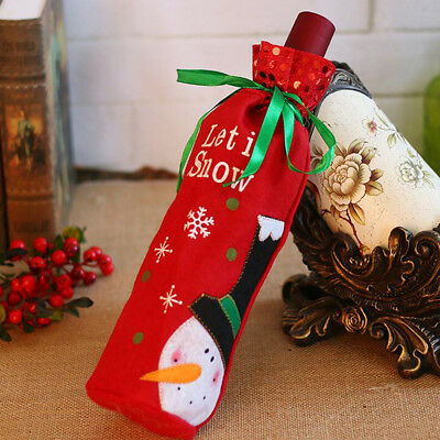 Santa Wine Bottle Cover Storage Bag Christmas Xmas Kitchen Decoration Ornament