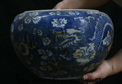 "11.2"" Old Chinese Blue White Porcelain Dynasty Palace Dragon Bead Pot Jar Crock"