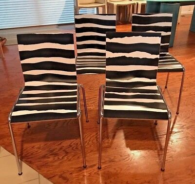 Set of 4 Chairik 101 Erik Magnussen Black White Zebra Chair Engelbrechts Denmark