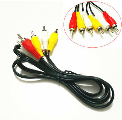 3FT 3 RCA Male to Male Composite Audio Video AV Cable Cord Silver Plugs HDTV DVD