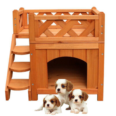 New Pet Wooden Cat House Living House Kennel with Balcony