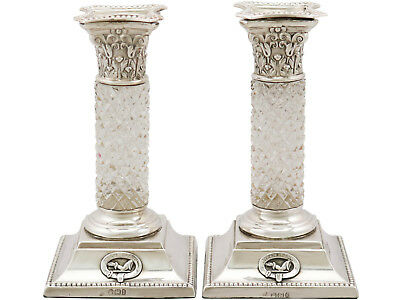 Antique, Pair of Sterling Silver and Glass Candlesticks, Victorian Height 14.7cm