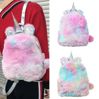Mini Rainbow Plushed Unicorn Hologram Backpack Girls Fluffy Pompom Cute Book Bag