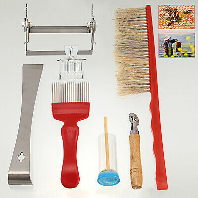 Hive Tool Bee Brush Uncapping Fork Queen Catcher / Cage Embedder Holder Tool SET