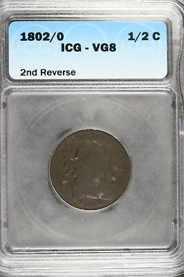 1802/0 - Icg Vg8 Second Reverse Rare Early Copper Half Cent!!  #b11499