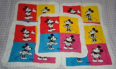 Clearance Lot 5x Disney Minnie & Mickey Mouse Activated Magic Facecloth Flannels