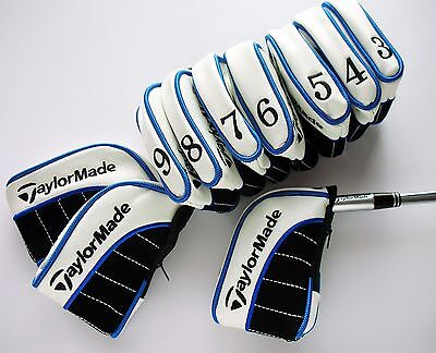 NEW SET OF 11 x TAYLORMADE IRON COVERS FOR ULTIMATE PROTECTION ZIP CLOSURE BLUE