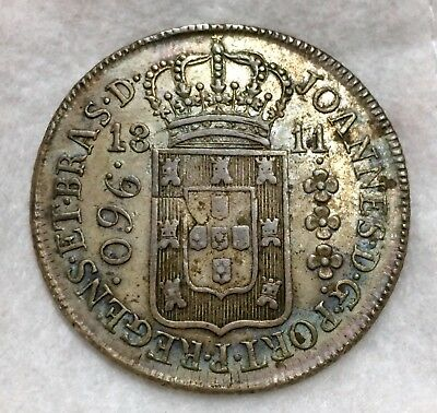 Brazil 960 Reis 1811 B Struck On Silver 8 Reales Coin Toned