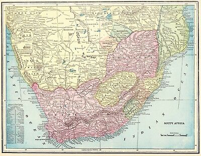 1895 Antique SOUTH AFRICA MAP Vintage Map of South Africa Gallery Wall Art #5907