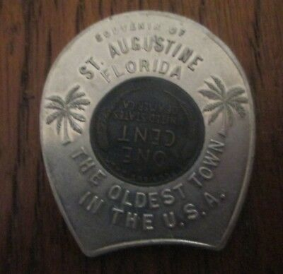Rare! Old! 1936 Usa Penny Cent St Augustine Florida Souvenir Good Luck Penny!
