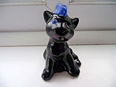 Ww1 Plichta Pottery London Black Cat In Blue Air Force Garrison Cap Rare Wemyss