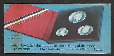 Bureau of the Mint - Order form for either Proof or Uncirculated Sets - 1976