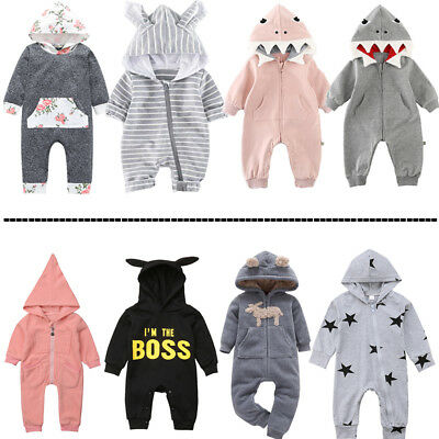 UKStock Newborn Infant Baby Boy Girl Bodysuit Romper Jumpsuit Outfit Clothes