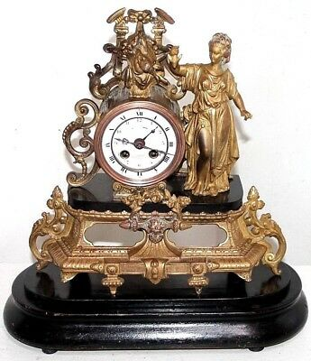 ANTIQUE 19th C. FRENCH FIGURAL GILT STATUE MANTEL CLOCK W/ MARBLE & WOOD BASE.