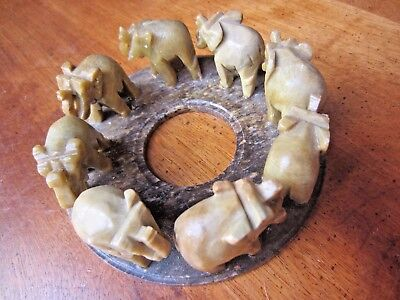 """Carved Stone Elephant Candle Holder, 8"""" diameter by 4"""" wide, Very unique piece"""