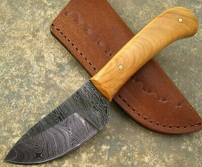 Olive Wood Handle Full Tang Damascus Blade Skinner Knife W custom Leather Sheath