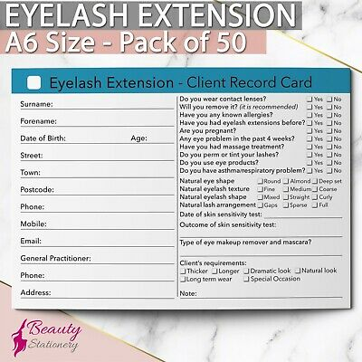 Eyelash Extension Client Record Card Treatment Consultation Salon A6 / 50 Pack