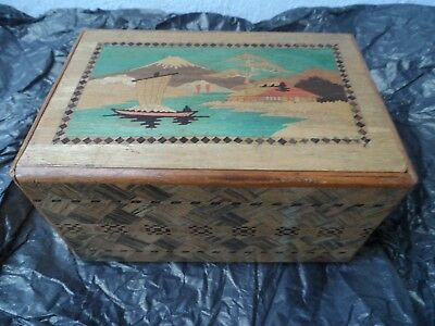 Vintage Antique Japanese Inlaid Wood Puzzle Trick Secret Box Multi Step Mt Fuji
