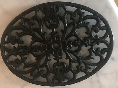 Vintage Cast Iron Unique Oval Trivet