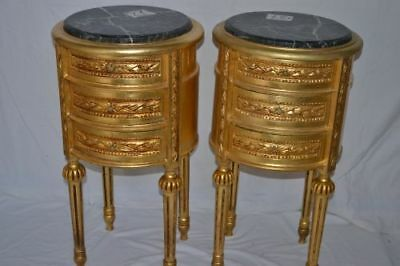 Pair Of Gold Nightstands With Black Marbre Baroque Style Bedside Cabinet