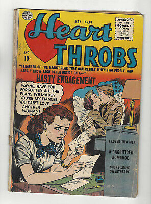 Heart Throbs #43 - Hasty Engagement - Romance 1956 Goldenage quality comics