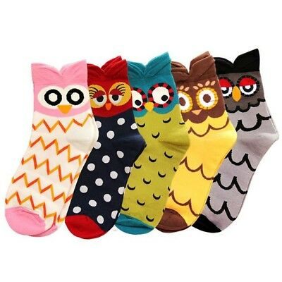 5 Pairs Women Girl Lovely Cartoon Owl Pattern Printed Thicken Warm Cotton Socks